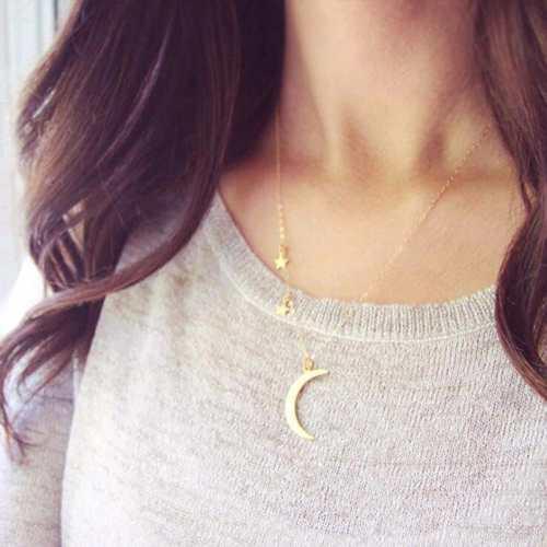 Collar Luna Y Estrellas En Color Dorado A Buen Precio Mujer