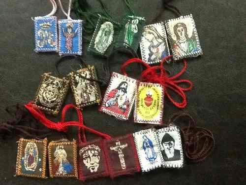Escapularios De Santos. 12 Piezas Gpe S Judas S Benito