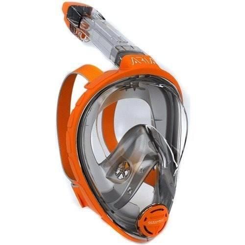 Mascara Y Snorkel Modelo Aria Ocean Reef Naranja Talla S/ M