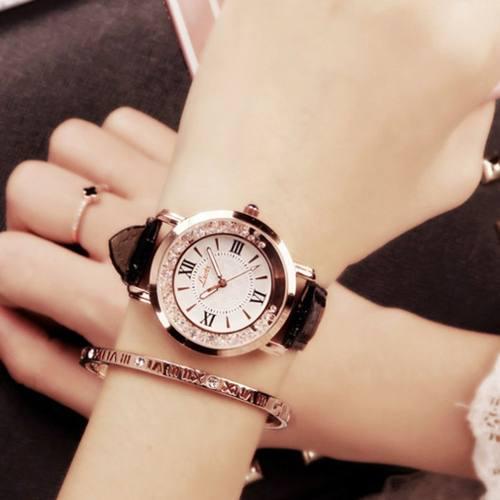 Mujeres Moda Lujo Ocio Set Cuero De Acero Acero Cuarzo Reloj