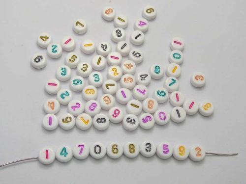 Números Multicolores Tipo Luneta 7 Mm 100 Piezas Al Azar