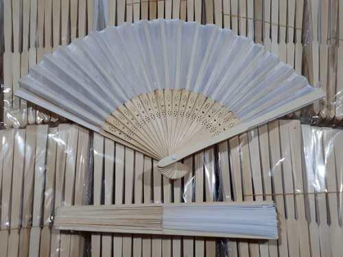 150 Abanico Blanco Tela Madera Bambu Boda Evento Mayoreo
