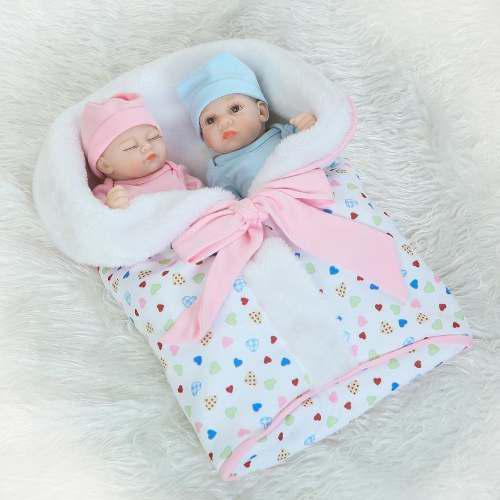 2 Bebé Reborn Muñeca Silicona Gemelos 26cm Regalo