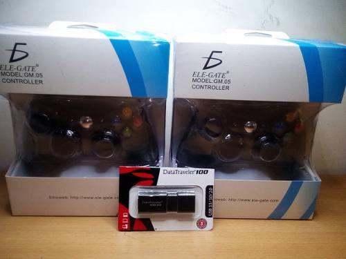 2 Controles Tipo Xbox 360 + Usb Con 8 Mil Juegos Para Pc