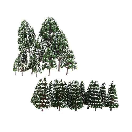32x Mini Modelos De Árbol De Nieve Color Verde Escala 1: 5