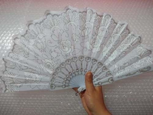 50 Abanicos Plástico Blanco Diamantina Boda Plata Fiestas