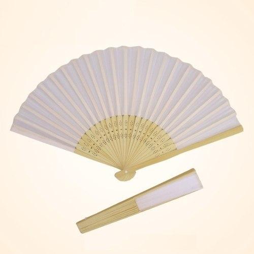 60 Abanicos Blancos D/ Tela/bambú Boda
