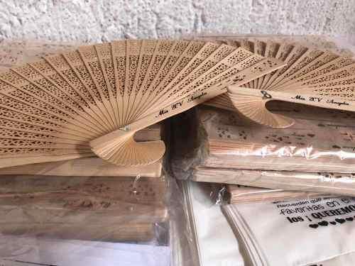 Abanicos De Madera Personalizados Con Bolsita De Celofán