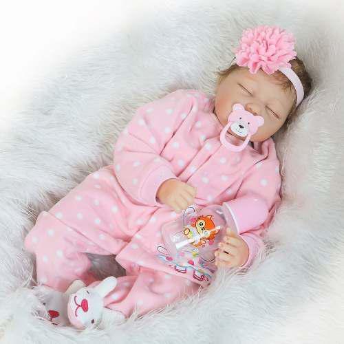 Bebé Reborn Muñeca Simulado 55cm Cuerpo Completo Silicona