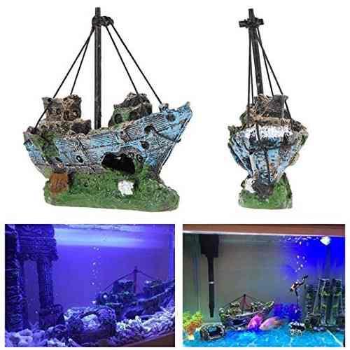 Superdream Resina Del Barco De Pesca Del Ornamento Del Acuar