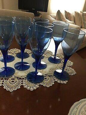 9 Copas de Vidrio color Azul