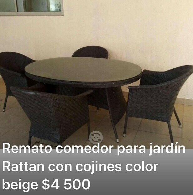 Remato fino comedor negro jardín de Rottan 4 sillas con