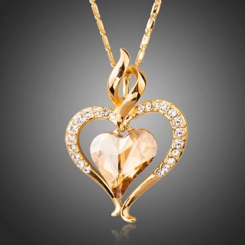 Brillante Collar Corazon Swarovski Dorado Regalo Amor Novia