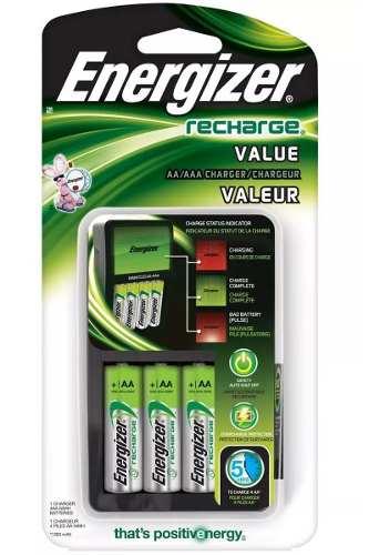Cargador Baterías Energizer Recargable Aa Aaa + 4 Pilas Aa