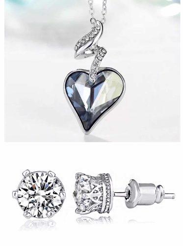 Collar Corazon Oro Lam Cristales Swarovski Elements.