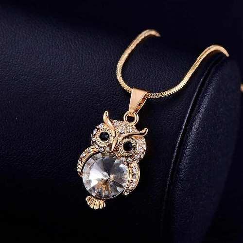 Collar De Búho Oro Rosa Lam Y Cristal Austriaco