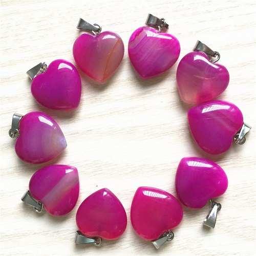 Corazón Ágata Rosa Natural Dije Unisex Tamaño 15mmx15mm