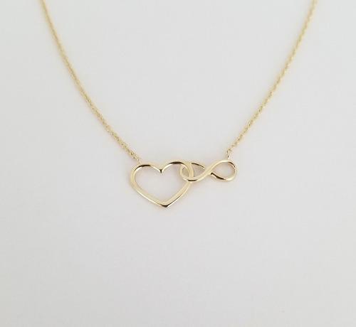 Hermosa Cadena Gargantilla Corazón Infinito Oro Solido 10k
