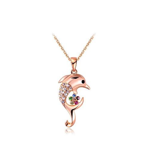 Hermoso Collar Delfin Oro Rosa 18k Lam Cristales Swarovski