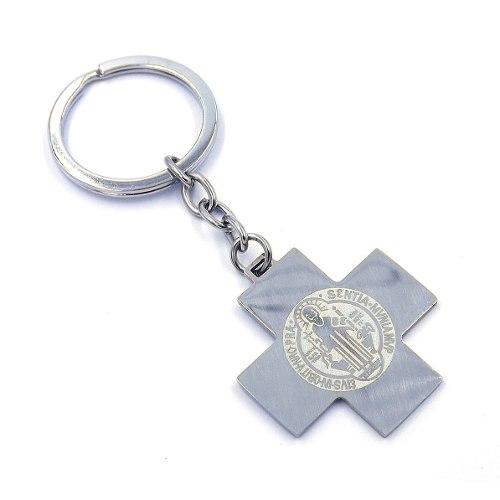 Llavero Acero Plateado Cruz Medalla San Benito Eg