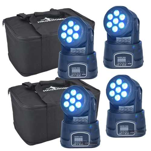 Set 4 Cabeza Movil Wash 7 Led 15w Robotica Bolsa Transporte
