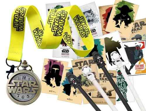 Super Fan Box Set Clock Star Wars + Stickers + Lanyard Lapic