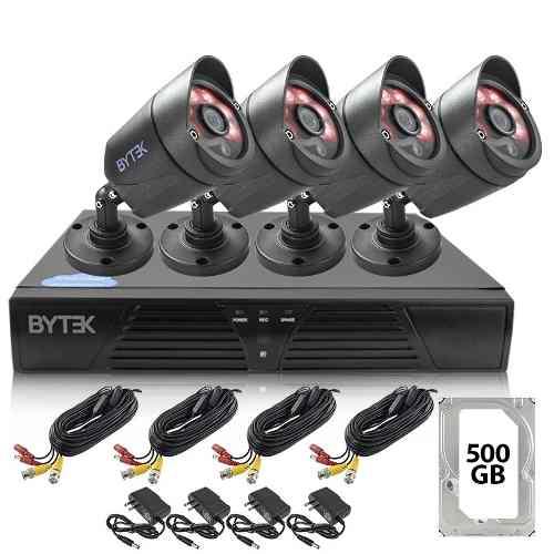 Kit Video Vigilancia 4 Camaras Cctv Metalicas 2mp Disco 500g