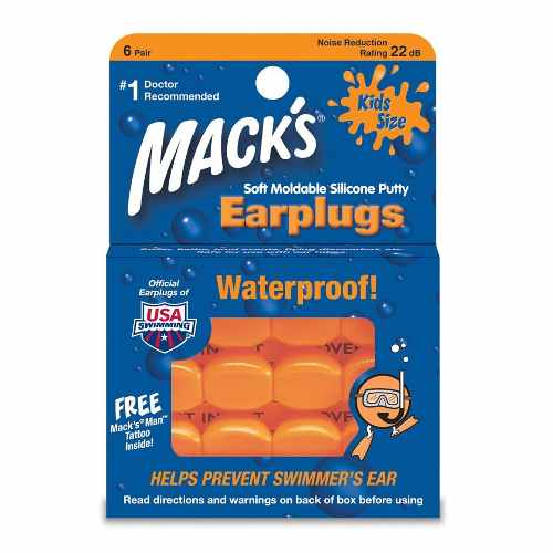 Mack's - Tapones Oído Silicone Para Dormir Niño Naranja