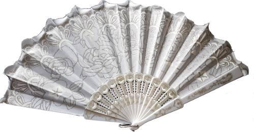 10 Abanicos Blancos Con Destellos De Brillantina Tela Boda
