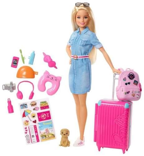 Barbie Viajera Con Su Cachorro Accesorios / J