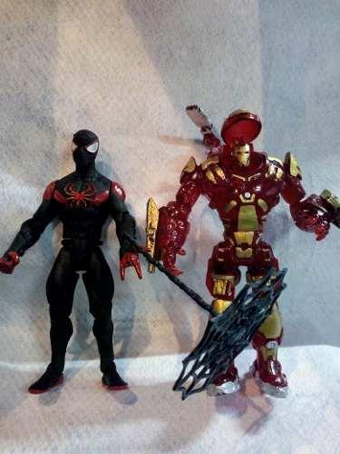 Muñeco Set Spider Man Hombre Araña Y Iron Man Con Luz