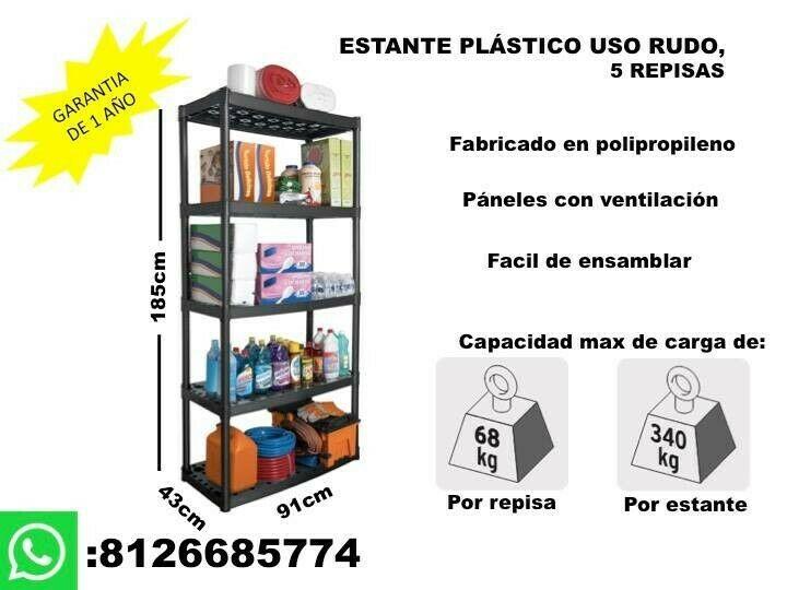 ESTANTE DE PLASTICO DE 5 REPISAS USO RUDO