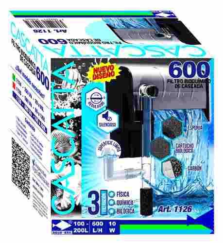 Filtro Externo Cascada Pecera Acuario 600 L/h 200 L