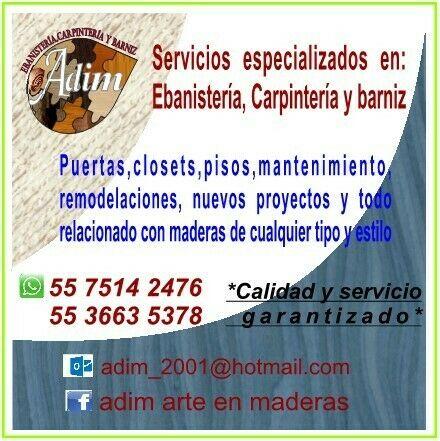 Servicios de ebanistería y carpintería