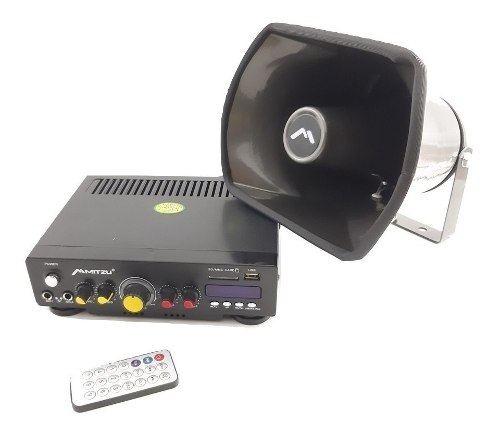 Kit De Perifoneo Voceo Amplificador Y Trompeta Usb/sd Fm