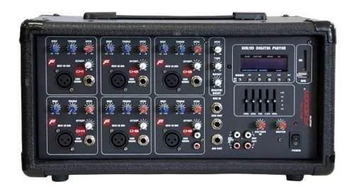 Mezcladora Con Amplificador De 6 Ch w Usb Bluetooth