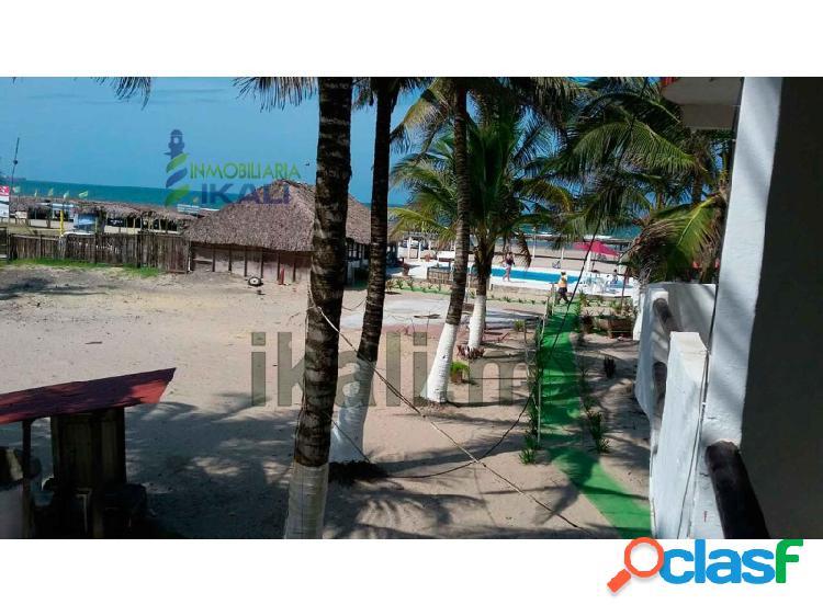 Renta hotel 10 habitaciones frente mar playa Tuxpan