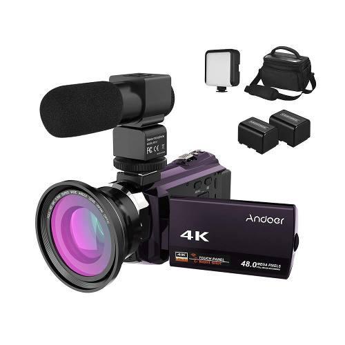 Camara Filmadora Andoer 4k 1080p 48mp Wifi 16xzoom Kit Com