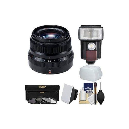 Fujifilm 35 Mm F / 2.0 Xf R Wr Lente (negro) Con Flash 3 Fil