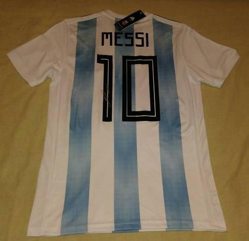 Jersey Argentina Mundial 18 Firmada Lionel Messi Certificada