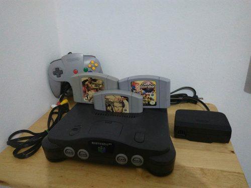 Nintendo 64 Con 3 Juegos 1 Control Y Cables.