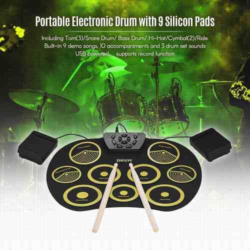 Portátil Batería Electrónica Set Rollo Arriba Drum Equipo