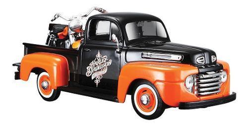 1948 Ford F1 Pick Up + Harley Davidson Flh Duo Maisto 1:24