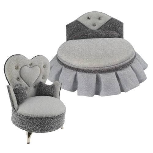 2pcs Miniatura Sillón Sofá Cama De Madera Accesorios Deco