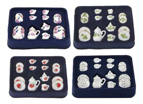 4 Juego Casa De Muñecas En Miniatura Taza De Té Porcelana