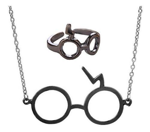 Collar Lentes Y Anillo Negro Harry Potter + Bolsita Gratis