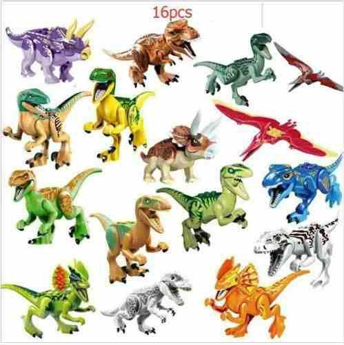 Dinosaurios Jurassic World Park Bloques Armar 16 Dif Blue