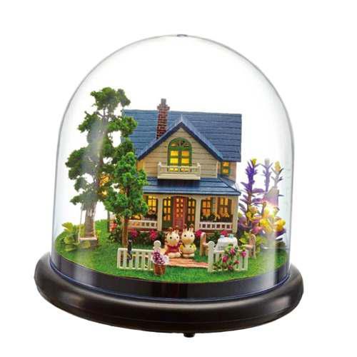 Diy Mini Glassball Miniatura De Casa De Muñecas De Madera