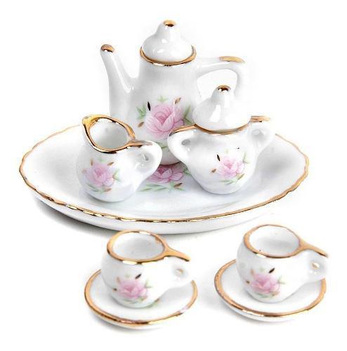 Hermoso Juego De Te Miniatura Porcelana Fina Floral Gold Kin