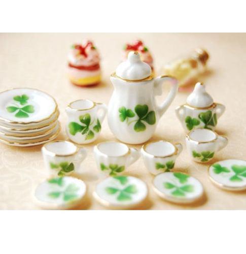 Hermoso Juego De Te Miniatura Porcelana Fina Green Irish